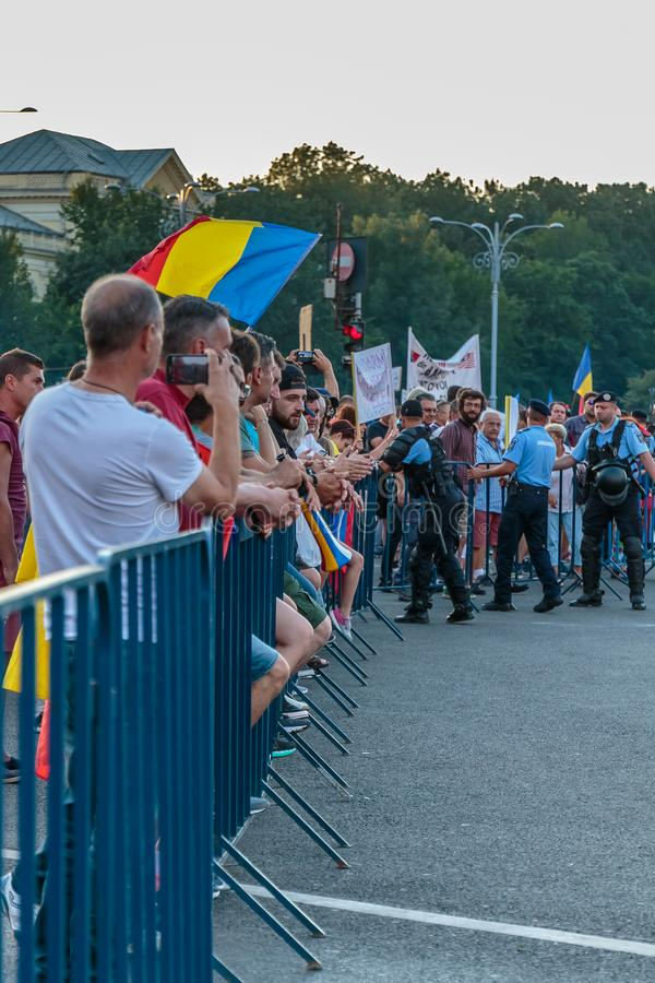 Protests in Bucharest Romania against the corrupt government - August / 11 / 2018. Protests in Bucharest / Romania on August 11 2018 against the corrupt royalty free stock photography