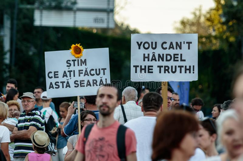 Protests in Bucharest Romania against the corrupt government - August / 11 / 2018. Protests in Bucharest / Romania on August 11 2018 against the corrupt royalty free stock images