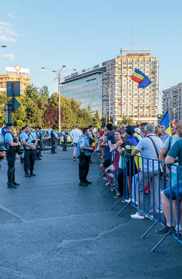 Protests in Bucharest Romania against the corrupt government - August / 11 / 2018. Protests in Bucharest / Romania on August 11 2018 against the corrupt royalty free stock photos