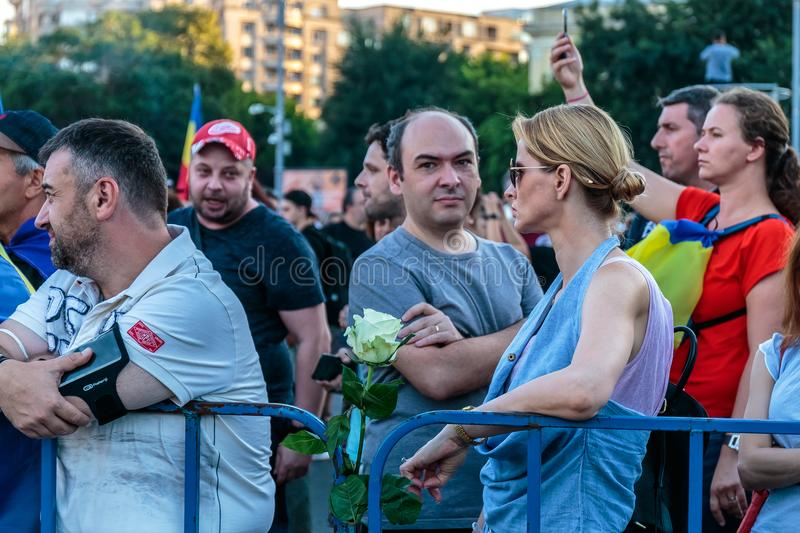 Protests in Bucharest Romania against the corrupt government - August / 11 / 2018. Protests in Bucharest / Romania on August 11 2018 against the corrupt stock photos