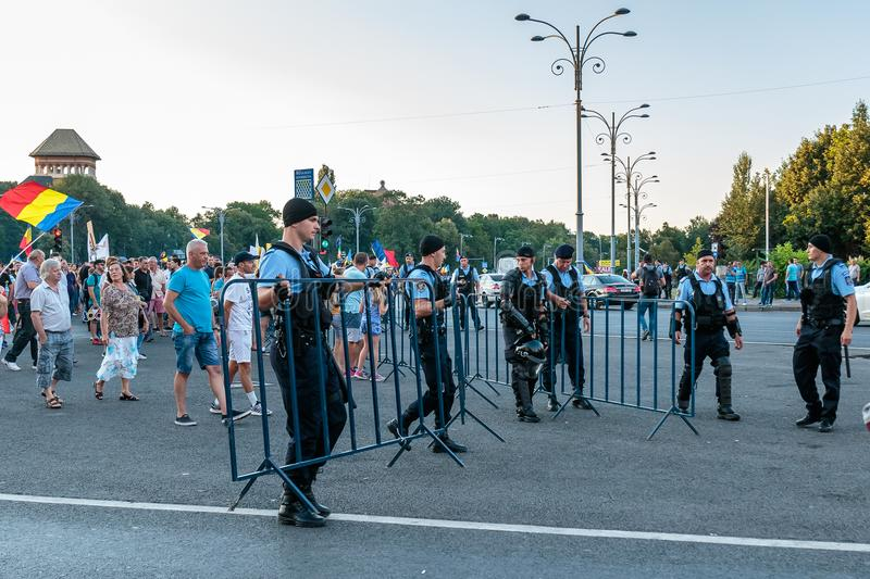 Protests in Bucharest Romania against the corrupt government - August / 11 / 2018. Protests in Bucharest / Romania on August 11 2018 against the corrupt royalty free stock image