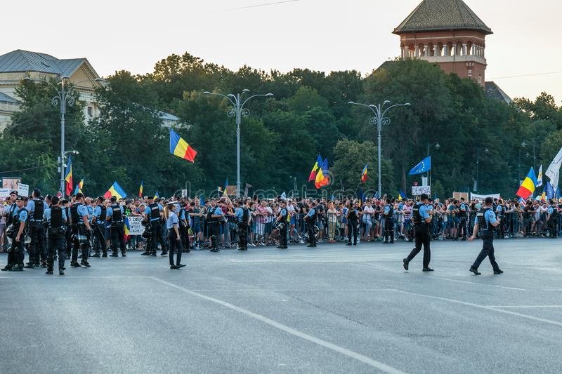 Protests in Bucharest Romania against the corrupt government - August / 11 / 2018. Protests in Bucharest / Romania on August 11 2018 against the corrupt stock images