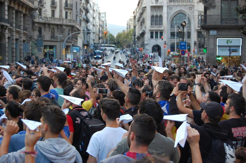 Protests for Catalan Indipendence. Catalonia Referendum: people prostesting in the streets of Barcelona. October 2017. Catalan students protesting in Catalonia stock photography