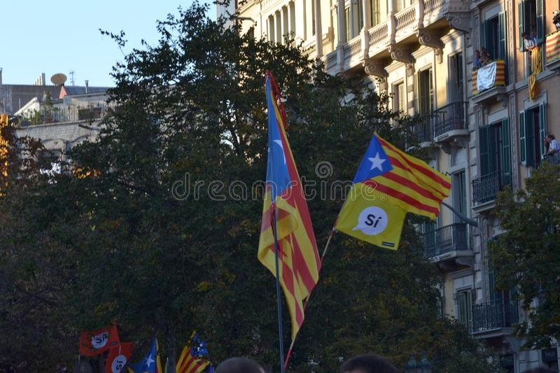 Protests for Catalan Indipendence. Catalonia Referendum: people prostesting in the streets of Barcelona. October 2017. Protests in Catalonia. People occupied royalty free stock image