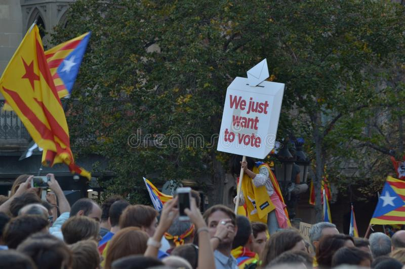 Protests for Catalan Indipendence. Catalonia Referendum: people prostesting in the streets of Barcelona. October 2017. Protests in Catalonia. People occupied royalty free stock images