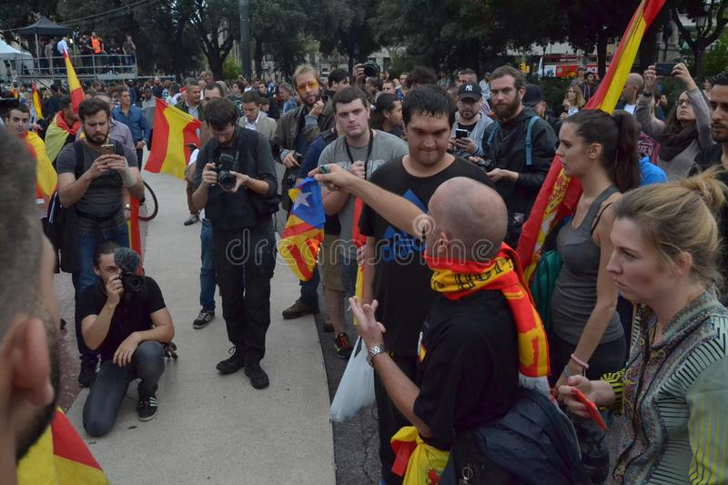 Protests for Catalan Indipendence. Catalonia Referendum: people prostesting in the streets of Barcelona. October 2017. Protests in Catalonia. People occupied stock photo
