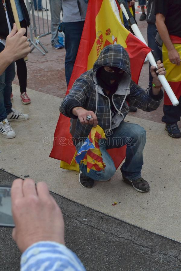 Protests for Catalan Indipendence. Catalonia Referendum: people prostesting in the streets of Barcelona. October 2017. Protests in Catalonia. People occupied stock photos
