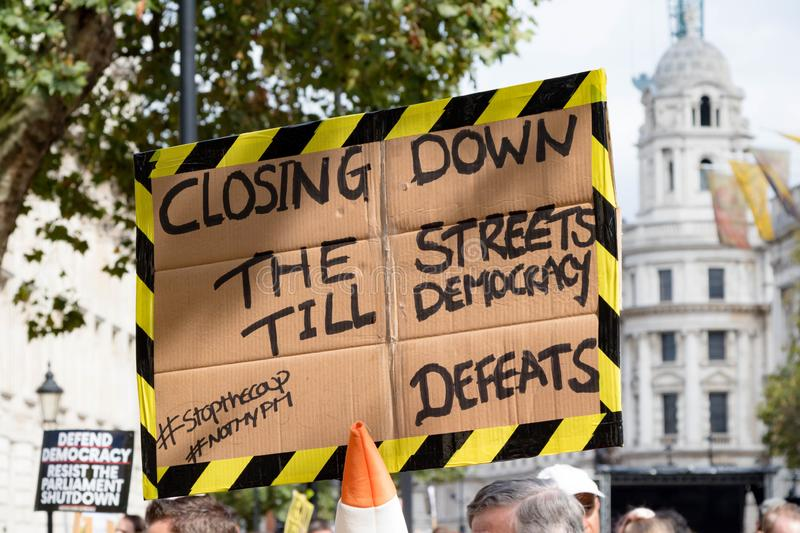 Protests in Central London August 31st 2019 royalty free stock photo