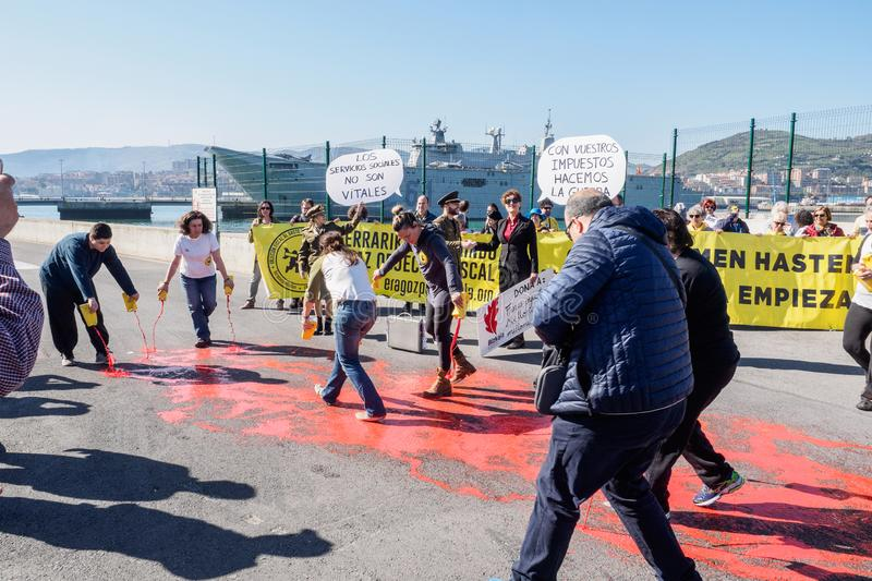 Protests in front of aircraft carrier stock images