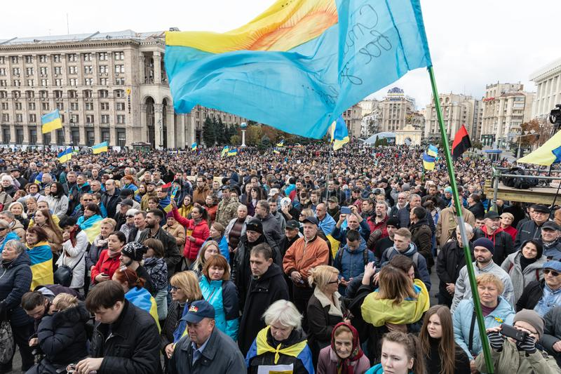 Protests on Independence Square in Kyiv, Ukraine royalty free stock image