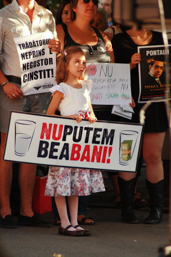 Protests in Oradea city against cyanide gold digging in Rosia Montana in Romania. Protests rally in Oradea against cyanide gold digging in Rosia Montana in stock photo