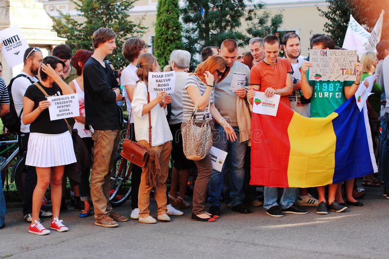 Protests in Oradea city against cyanide gold digging in Rosia Montana in Romania. Protests rally in Oradea against cyanide gold digging in Rosia Montana in stock images