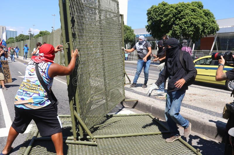Protests in Rio de Janeiro has violence and damage to Carnival s stock photography