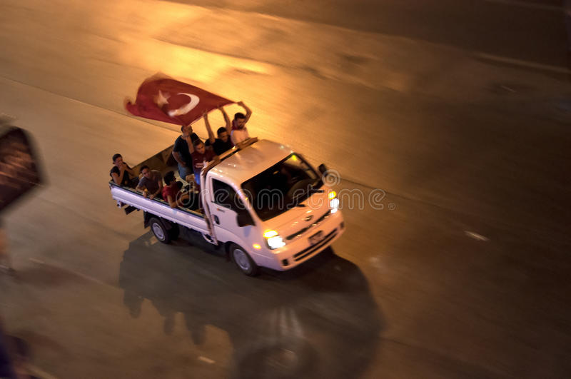 Protests in Turkey, Istanbul - july 15, 2016 royalty free stock photo