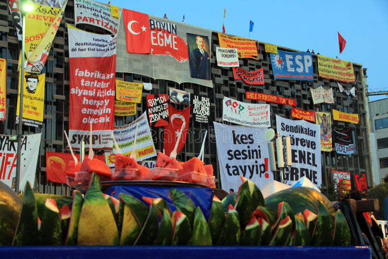 Protests in Turkey Taksim Square, AKM Building royalty free stock images