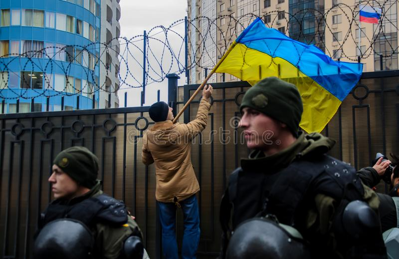 Protests of Ukrainian patriots near General Consulate of Russian Federation in Odessa against aggression of Russia stock images