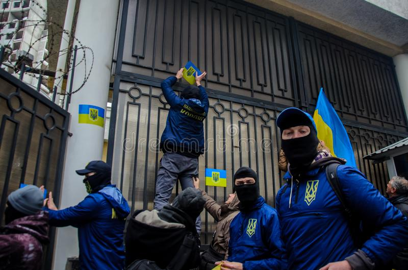 Protests of Ukrainian patriots near General Consulate of Russian Federation in Odessa against aggression of Russia stock photos