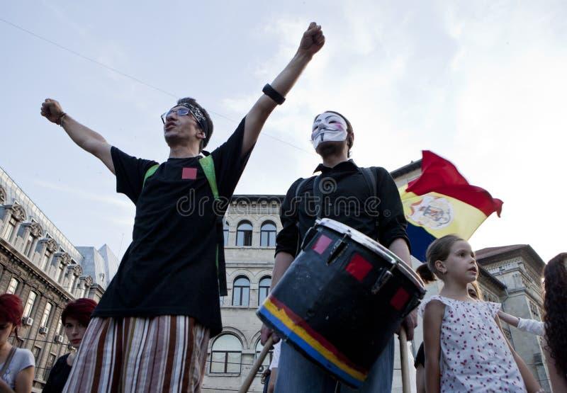 Protestsing in Bucharest stockfotografie