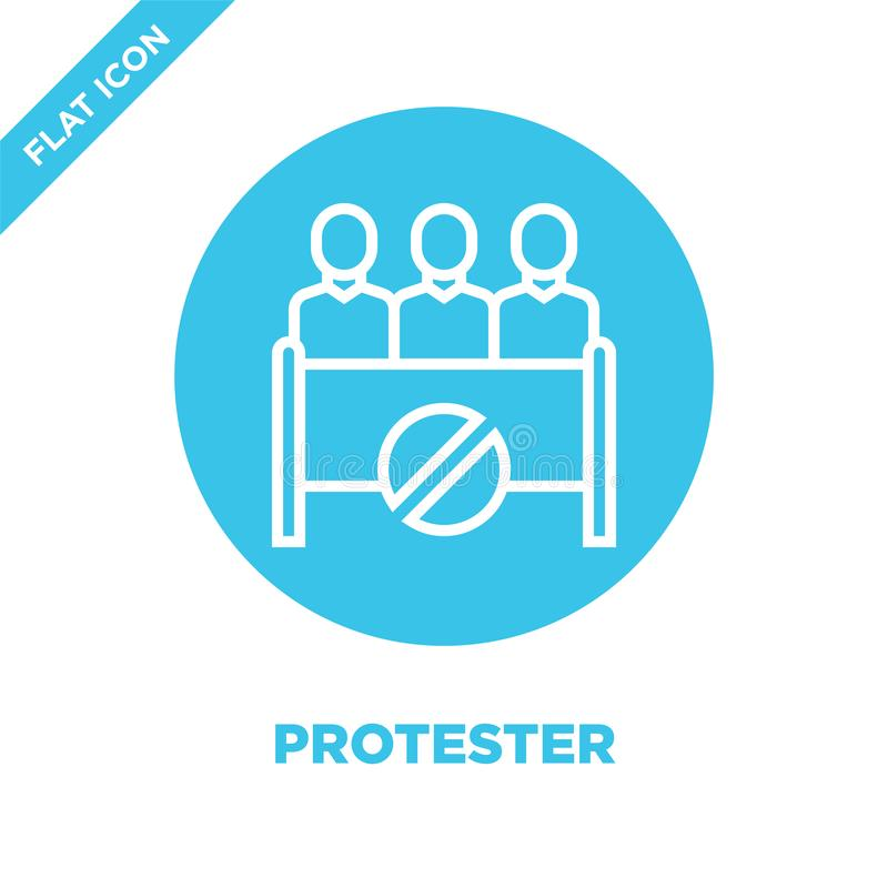 protestujący ikony wektor od korupcja elementów inkasowych Cienka kreskowa protestującego konturu ikony wektoru ilustracja Liniow ilustracji
