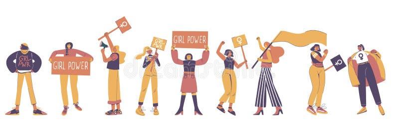Protestujące młode kobiety, wektorowego mieszkania odosobniona ilustracja royalty ilustracja