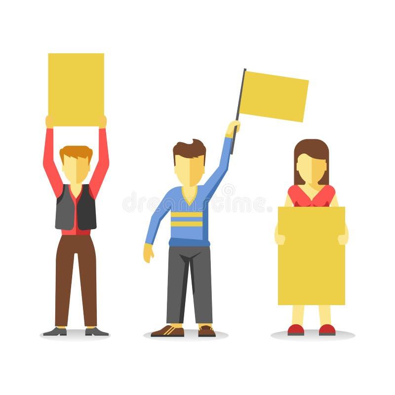 Protestujący ludzie trzyma pustych żółtych sztandary odizolowywający na bielu royalty ilustracja