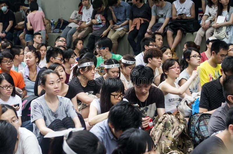 Protestujący o północnych wschodów Nowych terytorium Hong Kong zdjęcie stock