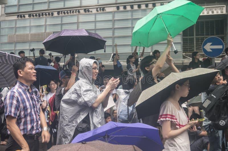 Protestujący o północnych wschodów Nowych terytorium Hong Kong zdjęcia stock
