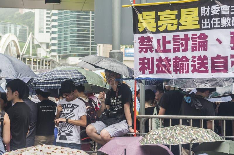 Protestujący o północnych wschodów Nowych terytorium Hong Kong fotografia royalty free