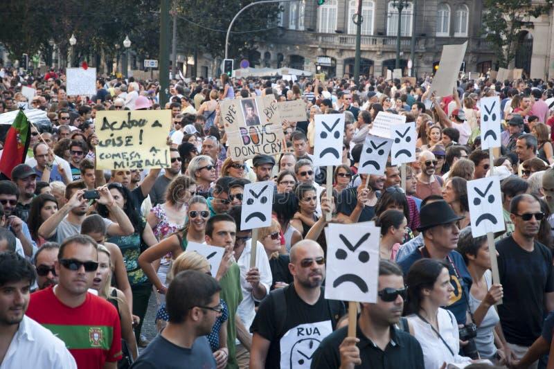 Protestuje przeciw rządowym cięciom, Porto zdjęcie stock