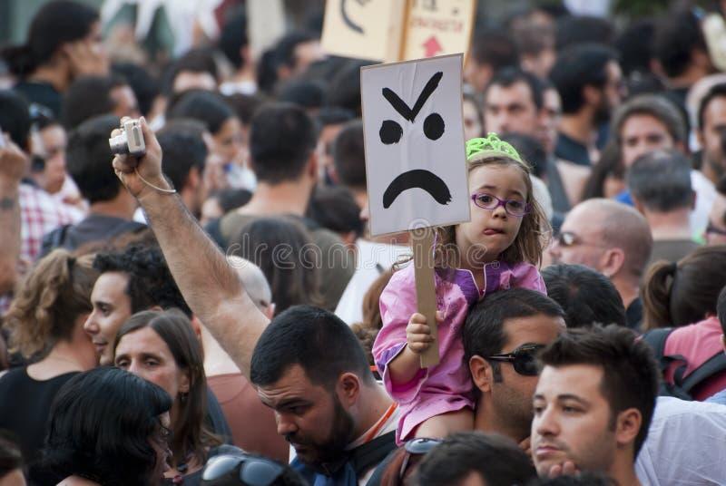 Protestuje przeciw rządowym cięciom, Porto zdjęcie royalty free