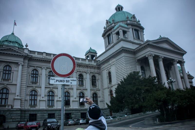 Protestuje przeciw wybory najważniejszy Aleksandar Vucic jako prezydent, Belgrade obraz royalty free