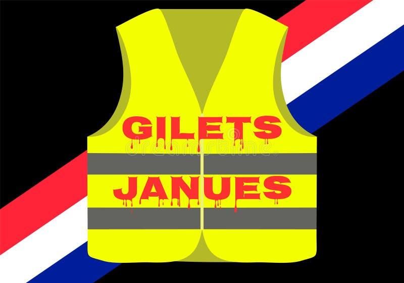 Protesty żółte kamizelki w Francja Pierwszy krew ofiara zabił opłakiwać Stosowny dla wiadomości o gilets janues royalty ilustracja