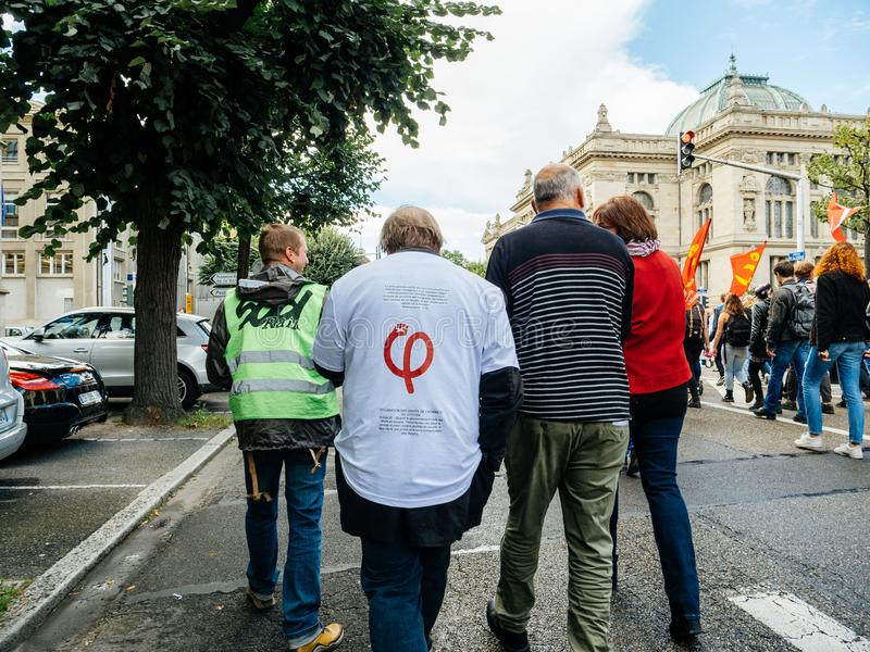 Protesty w Francja przeciw Macron reformom obrazy stock