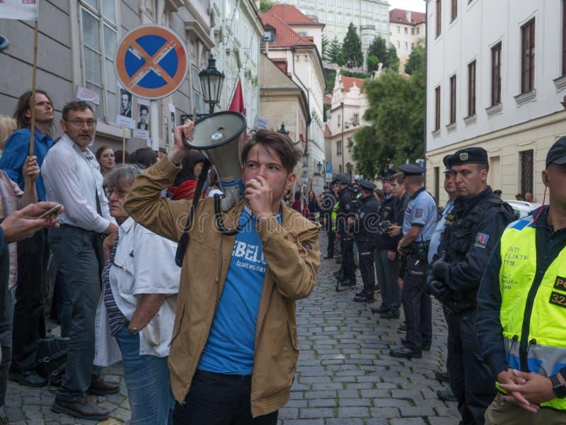 Protesty w Praga obraz royalty free