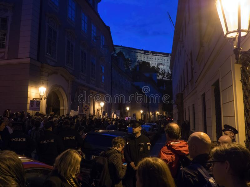 Protesty w Praga fotografia stock