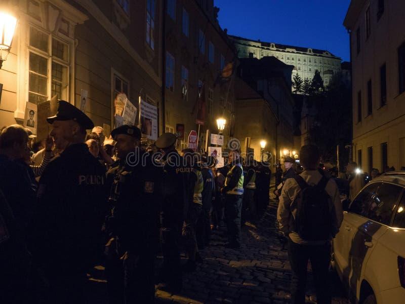Protesty w Praga obraz stock
