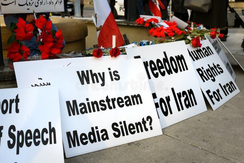 Protesty w solidarności z irańskimi protestującymi wzywają media fotografia stock