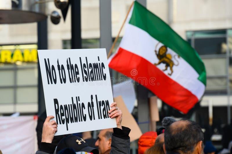 Protesty w Solidary z irańskimi protestującymi, Toronto, ON zdjęcia stock