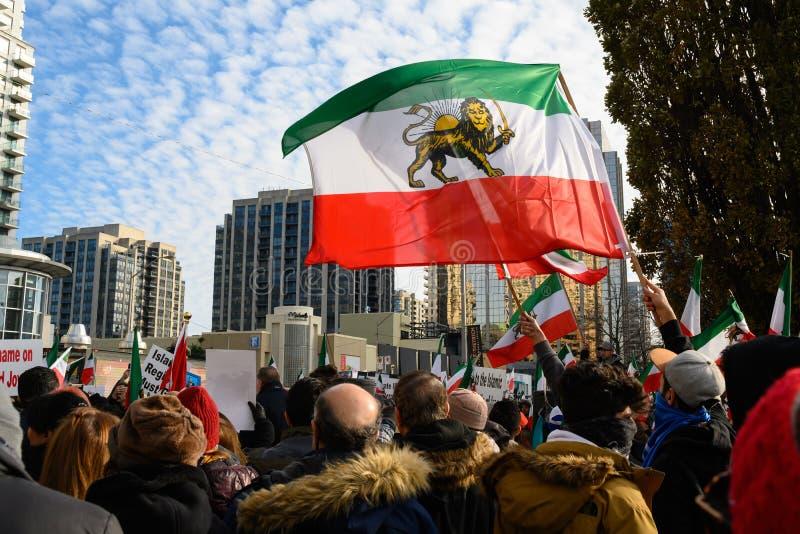 Protesty w Solidary z irańskimi protestującymi, Toronto, ON obrazy stock