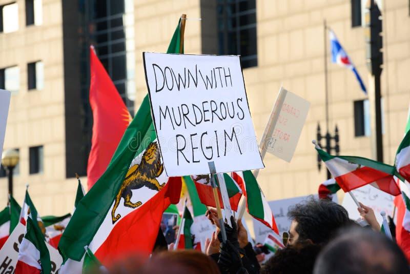 Protesty w Solidary z irańskimi protestującymi, Toronto, ON fotografia stock