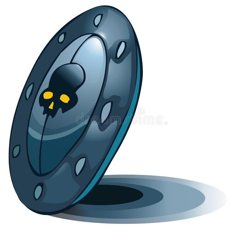 Protetor azul com um emblema do crânio nele ilustração do vetor