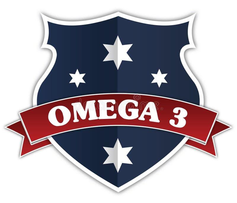 Protetor azul e fita vermelha com texto da ÔMEGA 3 ilustração royalty free