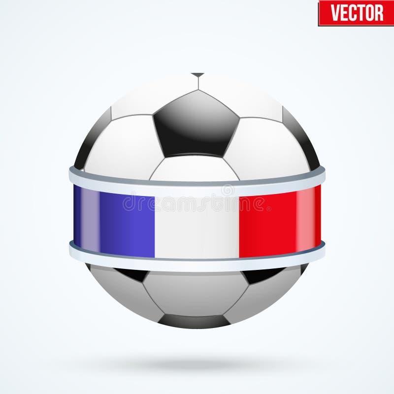 Protetor brilhante na bola do futebol para dentro com fitas francesas ilustração do vetor