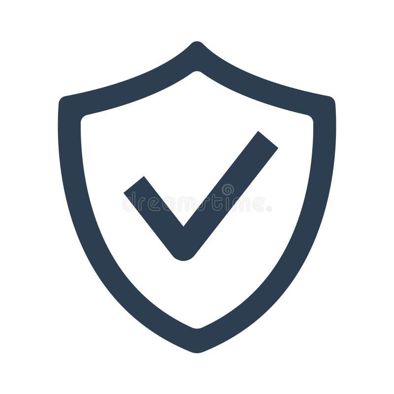 Protetor com ícone da marca de verificação no fundo branco ilustração royalty free
