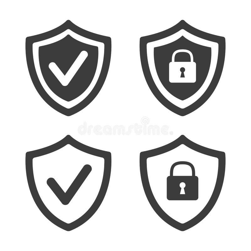 Protetor com ícone da marca da segurança e de verificação no fundo branco ilustração stock