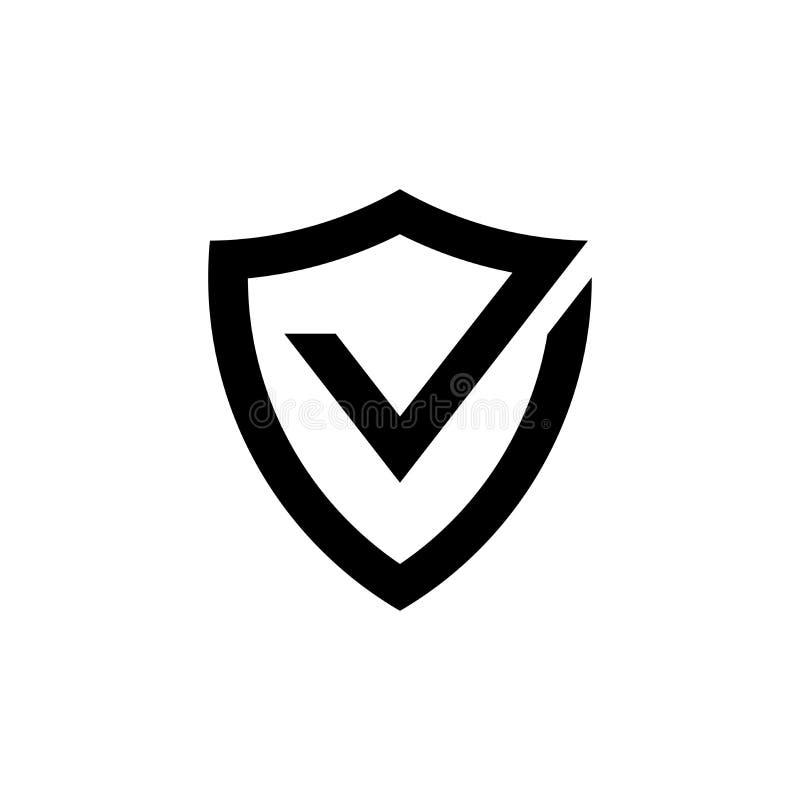 Protetor com ícone do preto da marca de verificação, sinal aprovado da proteção ilustração do vetor