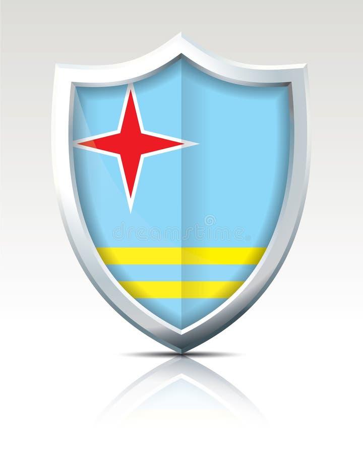 Protetor com a bandeira de Aruba ilustração stock