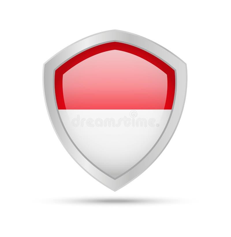 Protetor com a bandeira de Indonésia no fundo branco ilustração do vetor