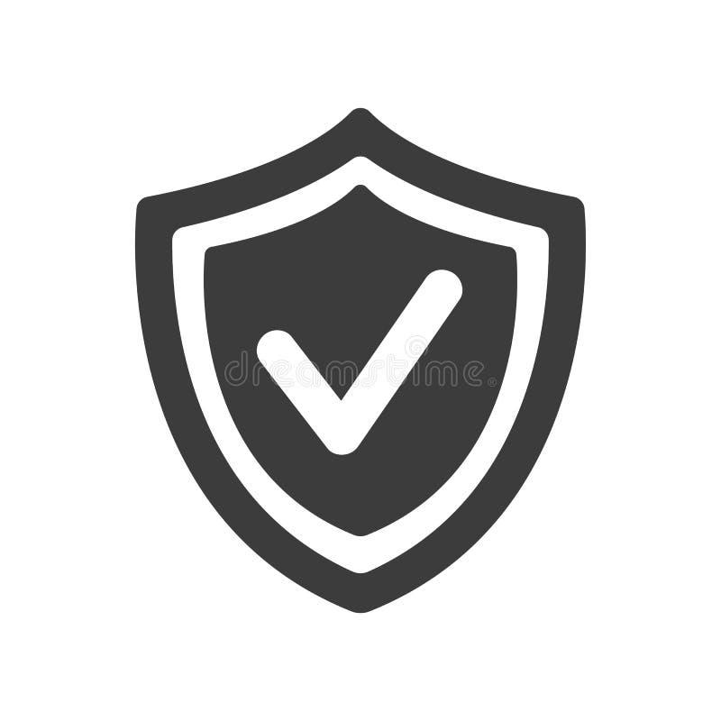 Protetor com ?cone da marca de verifica??o no fundo branco ilustração royalty free