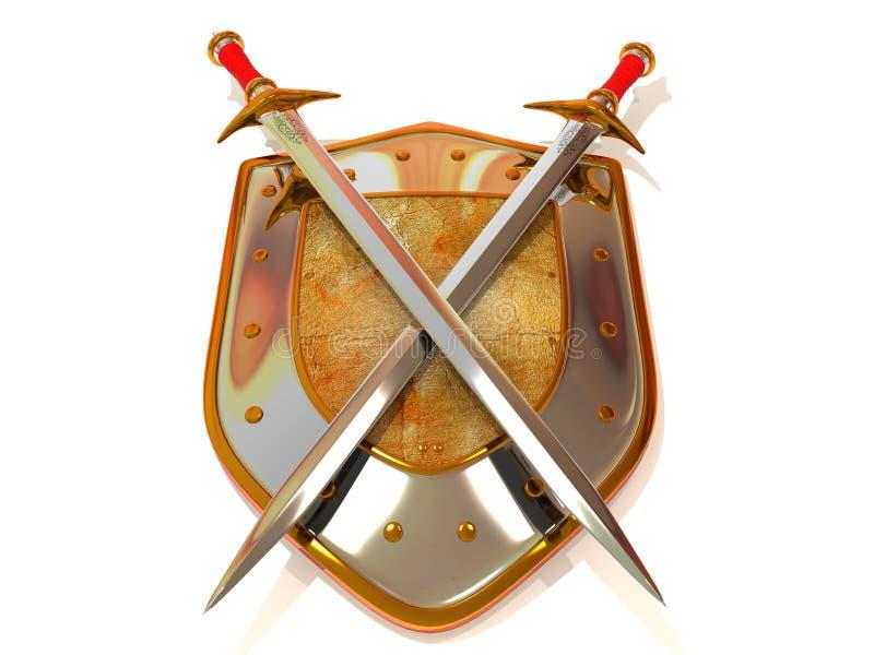 Protetor com espada. Segurança ilustração do vetor